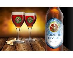 Bière Grande Rivière Rouget de Lisle bouteille + verres